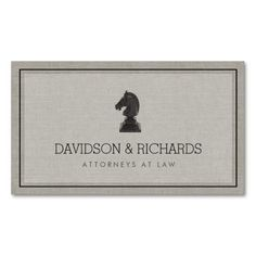 Vintage Horse Knight Chess Piece Attorney, Lawyer Business Card Template - 100% customizable. See an instant preview with your name and info immediately. Printed on high quality card stock. Easy to order. Fast shipping.