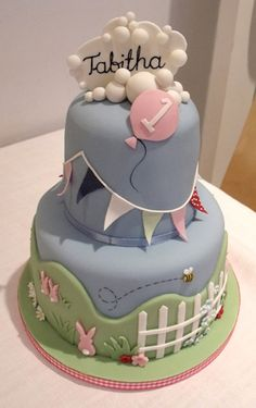 Fabulous 1st Birthday Cake from the very talented Joella at Nibble and Scoff (www.nibbleandscoff.co.uk).