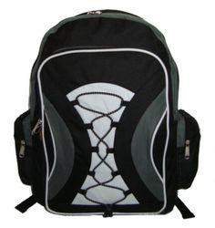 """18"""" multi pocket backpack w/side pockets- black/grey Case of 24"""