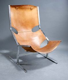 Pierre Paulin; #444 Chromed Steel and Leather Chair for Polak, c1964.