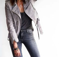 shades of grey outfit. love that grey moto jacket