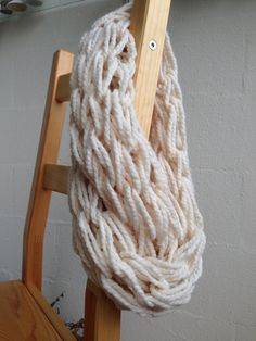 Arm Knit Infinity Scarf - Cream on Etsy, $15.00