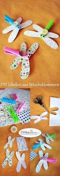 Dragonflies from clothespins tinker with toddlers - DIY .- Libellen aus Wäscheklammern basteln mit Kleinkindern – DIY Bastelideen Dragonflies from clothespins tinker with toddlers – DIY craft ideas - Kids Crafts, Diy Crafts To Do, Summer Crafts, Toddler Crafts, Arts And Crafts, Fall Crafts, Easter Crafts, Diy Clothes No Sewing, Diy Y Manualidades
