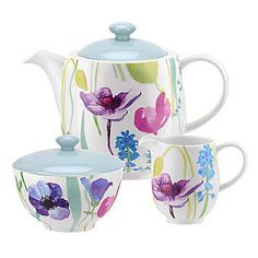 Portmeirion Water Garden Tea Set in One Colour Dining Plates, Kitchen Dining, Portmeirion Pottery, Dinner Sets, Watercolor Design, Milk Jug, Water Garden, Colorful Flowers, Tea Set