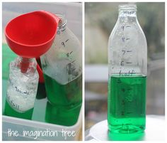 The Imagination Tree: Exploring Capacity with Coloured Water Capacity Activities, Water Play Activities, Math Activities For Kids, Water Games For Kids, Montessori Activities, Math For Kids, Preschool Math, Math Games, Measurement Kindergarten