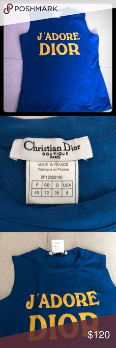 CHRISTIAN DIOR J'Adore Dior blue tanktop Authentic CHRISTIAN DIOR J' Adore Dior Authentic blue tank top muscle tee sz 8 (40) which fits a small. 95% cotton 5% Lycra. Made in France. Authentic. Like new. Bought at Dior but not worn. Chic & fun. Vintage. Christian Dior Tops Tank Tops