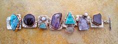 BS12 - 33   Bracelet Silver with Copper Bezels w/ apatite, amethyst, amazonite, amethyst, hemimorphite drusé, moonstone, amethyst flower, purpurite & pearls