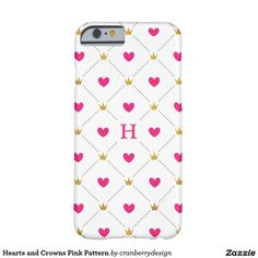 Hearts and Crowns Pink Pattern Barely There iPhone 6 Case