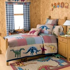 Jurassic Quilt Bedding - Incredible bedroom, play room, and nursery decor for boys and girls rooms at Kids Decorating Ideas The Company Store, The Good Dinosaur, Kids Decor, Home Decor, Quilt Bedding, Girl Room, Man Cave, Playroom, Nursery Decor