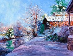 This is such a beautiful Impressionist painting: Lambertville in February (oil, 38x50) by George Gallo, featured at ArtistsNetwork.com. #painting #landscapes