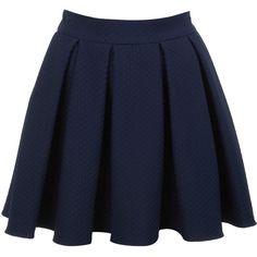 Miss Selfridge Navy Textured Skater Skirt (€26) ❤ liked on Polyvore featuring skirts, bottoms, saias, faldas, navy, navy blue skirt, navy circle skirt, textured skirt, navy blue circle skirt and navy skirts