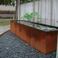 Pot Company: Corten steel pond / water feature 4 of 6 Outdoor Water Features, Water Features In The Garden, Water Garden, Garden Pool, Garden Planters, Back Gardens, Outdoor Gardens, Garden Spaces, Dream Garden