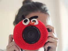Crochet buddy. Crochet Angry Birds. Camera buddy. Lens critter. Photographer helper. Crochet accessory. Photo Prop. Camera Lens Accessory.