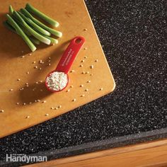 If your laminate kitchen countertops are worn but still sound, give them a fresh, new look by resurfacing them. A variety of colors are available, and the p
