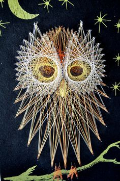 Owl String Art Wall Handing Perfect for Halloween