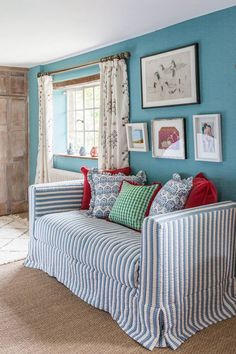 Willow Crossley's Cotswolds Bedroom by Octavia Dickinson, House & Garden UK Bohemian House, House Inside, Blue Rooms, Spare Room, Beautiful Interiors, Blue Interiors, Beautiful Homes, Living Area, Living Rooms