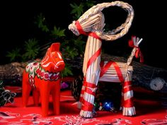 The Julbock, or Yule-goat, is made of straw and wrapped in red ribbon. It has a long history in its home country of Sweden, going back 300 years.
