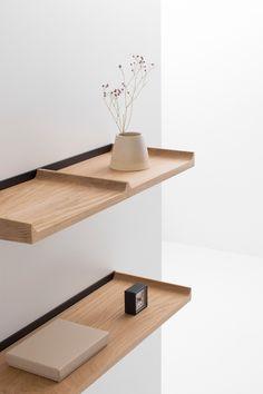 Notes Shelves by Julien Renault for Cruso Shelving Design, Modular Shelving, Shelf Design, Modern Shelving, Oak Shelves, Wall Mounted Shelves, Wooden Shelves, Small Shelves, Simple Furniture