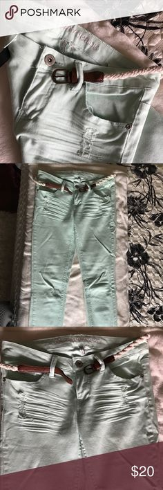 Mint color jeans Stretchy low rise mint color (skinny)jeans great condition Jeans Skinny