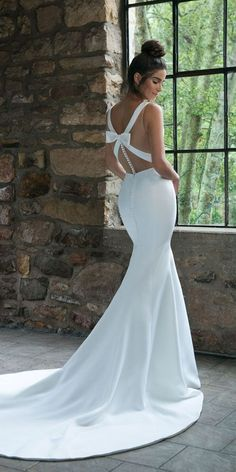 18 Great Ideas For Original Backless Wedding Dresses ❤️ backless wedding dresses mermaid simple with bow buttons sincerity bridal ❤️ Full gallery: https://weddingdressesguide.com/backless-wedding-dresses/