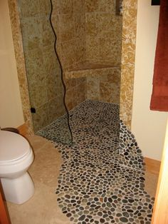 Pebble Stone Tile Bathroom Ideas - News Home Pebble Tile Shower Floor, Bathroom Floor Tiles, Bathroom Plants, Downstairs Bathroom, Modern Bathroom Decor, Bathroom Design Small, Bathroom Ideas, Bathroom Interior, Latest Wallpaper Designs