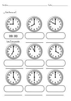 Fichas infantiles de trabajar las horas gratis. Descargar fichas y láminas de aprender las horas para imprimir de infantil, preescolar y primaria Kids Math Worksheets, Preschool Printables, Spanish Songs, Learning Spanish, Teaching Time, Teaching Tools, Math For Kids, Fun Math, Learn To Tell Time