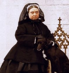 Queen Victoria 1867. She liked the mourning look so much that she kept it her whole life, even her official mourning period (2 years) was over.