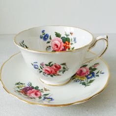 Pink Roses Summer Flowers Tea cups and saucers by LaviniasTeaParty