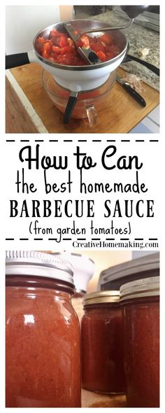 Tomato Recipes If you have never canned before, try canning some homemade barbecue sauce from fresh tomatoes. Homemade is best! - If you have never canned before, try canning some homemade barbecue sauce from fresh tomatoes. Homemade is best! Canning Bbq Sauce Recipe, Make Bbq Sauce, Homemade Barbecue Sauce, Barbecue Sauce Recipes, Tomato Sauce Recipe, Homemade Bbq, Homemade Sauce, Barbeque Sauce, Bbq Sauces