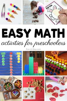 Looking for some easy math activities for preschoolers to do at home or in the classroom? Here are more than 30 easy-to-prep preschool math ideas for you! Educational Activities For Preschoolers, Kids Activities At Home, Math For Kids, Literacy Activities, Shape Activities, Simple Math, Easy Math, Preschool Set Up, Preschool Math Games