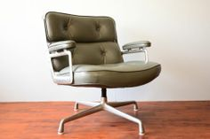 Vintage Herman Miller Eames Time Life Gray Leather Executive Lounge Chair