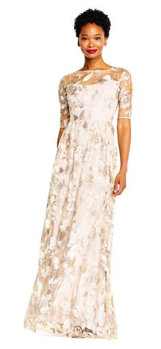 Adrianna Papell Embroidered Floral Lace Evening Gown With Sheer Sleeves 16 Light Dress Lace Skirt, Lace Dress, Lace Evening Gowns, Romantic Evening, Adrianna Papell, Floral Lace, Dress Making, Floral Design, Chiffon
