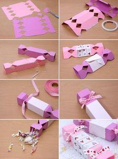 caixa de doces diy idéias papel de embrulho de presente do Valentim tutorial dobrar