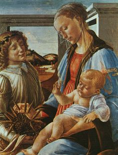 Tableaux sur toile, reproduction de Botticelli, Madonna And Child With An Angel, 84x65cm