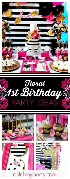 Take a look at this elegant floral 1st birthday party. The birthday cake is so pretty!! See more party ideas and share yours at CatchMyParty.com