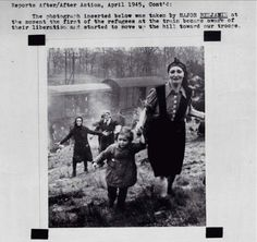 """Jewish prisoners at the moment of their liberation from an internment camp """"death train"""" near the Elbe in 1945"""