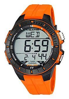Calypso Herrenarmbanduhr Quarzuhr Kunststoffuhr mit Polyurethanband Alarm-Chronograph digital alle Modelle K5607, Calypso Artikelnummer:K5607/1 Orange - http://geschirrkaufen.online/calypso-watches-4/calypso-by-festina-digitale-herrenuhr-8-alarme-5-3