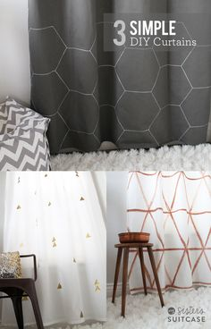 3 Simple ways to update plain curtains with geometric patterns and metallic designs. sisterssuitcaseblog.com #curtains #decor