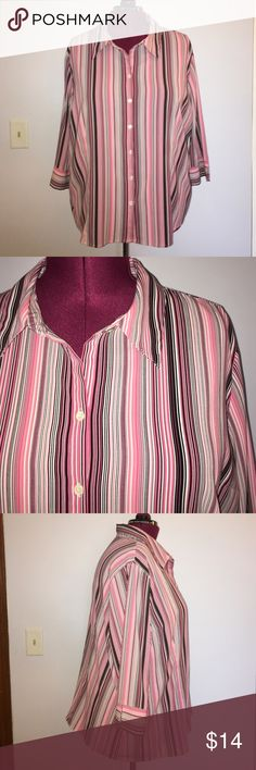 """Apt 8 Pink Striped Button Down Shirt size 3X Up for grabs is this blouse from Apt. 9. It is a size 3X and measures 28"""" from shoulder to hem and has a 60"""" bust unstretched. This top is a button down style with 3/4 length sleeves. It has pink, black, grey and white vertical stripes. This stretch blouse has been gently worn and is in wonderful condition. Apt. 9 Tops Button Down Shirts"""