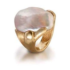 Keshi pearls with gold ring, from th Yvel pastel collection.