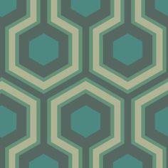 Papier peint Hick's Grand Vert de Cole and Son Hexagon Wallpaper, Metallic Wallpaper, Green Wallpaper, Print Wallpaper, Wallpaper Samples, Pattern Wallpaper, Florida Wallpaper, Wallpaper Backgrounds, Leaves Wallpaper