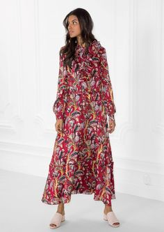 & Other Stories Floral-Print Maxi Dress in Red Dark