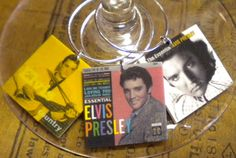 12 Elvis Presley Album Cover Wine Charms for the Music/Wine Lover 'YOUR wine glasses deserve COOL Sassy Jewelry' Fast Ship In Gift Tin!
