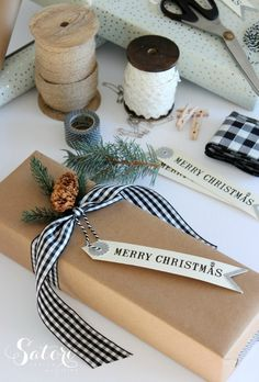 Vintage glam Christmas gift wrap ideas- paper, ribbon, tags, fresh greens and more...