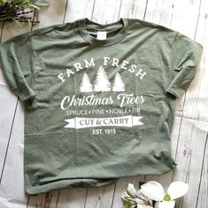 Farmhouse Christmas tshirt - Dark Shirt - Ideas of Dark Shirt - Christmas tree farm shirt. Fresh Christmas Trees, Christmas Tree Farm, White Christmas, Country Christmas, Christmas Shirts, Christmas Vinyl, Christmas Tops, Christmas Clothing, Holiday Clothes