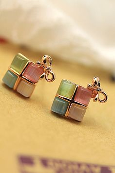 Korean goods genuine fashion exquisite elegance colored cat cute bow earrings earrings square-ZZKKO
