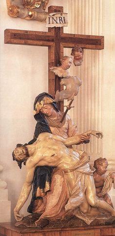 Pieta, polychrome on wood carving by Ignaz Günther