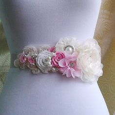 Wedding Bridal, Ivory Bridal Sash, Wedding Belt, Rhinestone and Pearl Flower Sash Applique