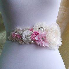 Wedding  Bridal, Ivory Bridal Sash, Wedding Belt, Rhinestone and Pearl Flower Sash Applique