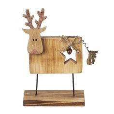 Christmas Stag Reineer Ornament Wood Decoration Star Free Standing Shabby Chic  #HOMEHEAVEN